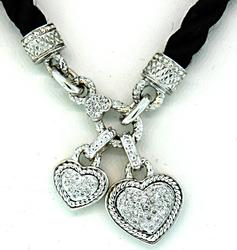 Pair of 18K Diamond Set Dangling Heart Pendant Necklace
