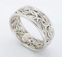 14K White Gold Byzantine Ring