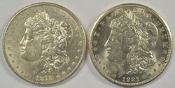 Nice BU 1878-S & 1921-S Morgan Silver Dollars