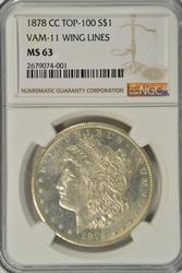 1878-CC Morgan $ Top 100 VAM-11 Lines in Wing NGC MS63