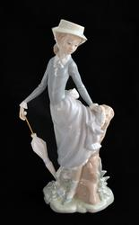 Lladro Girl With Hat and Umbrella Porcelain Figure