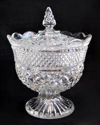 Vintage Clear Glass Covered Candy Dish, Diamond Pattern