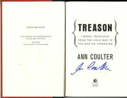 Ann Coulter Autographed Signed Treason Book RACC TS