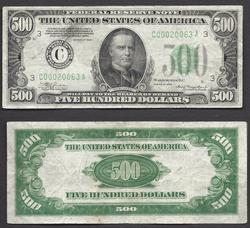 $500 1934 Philadelphia district.  In High Demand.
