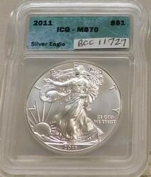 2011 Uncirculated Silver Eagle ICG MS-70, Perfect coin!