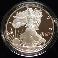 2003 PROOF Silver Eagle, 1 oz, Box, Holder, Document.