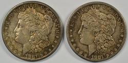 2 toned semi-Prooflike BU 1881-S Morgan Silver Dollars