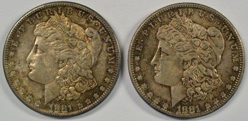 2 toned semi-Prooflike BU 1881-S Morgan Silver Dollars