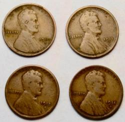 1910 S 1911 S 1913 S And 1914 S Lincoln Cents