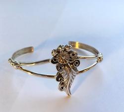 Sterling Silver Leaf, Flower Cup Bracelet, New