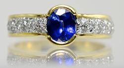 Beautiful Sapphire and Diamond 18K Ring