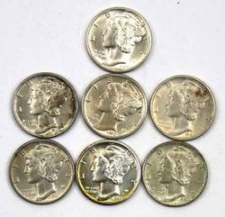 7 Full Split Band BU Mercury Dimes