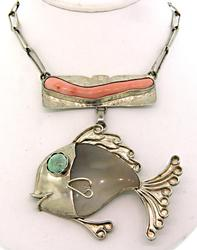 Buddy Lee Coral & Agate Fish Pendant in Sterling