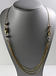 Tri Color Multi Strand Necklace in 14K