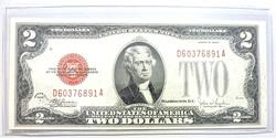 1928 F $2 Red Seal Note Crisp And Uncirculated!
