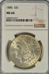 Great NGC MS64 graded 1886 Morgan Silver Dollar