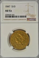 Nearly BU 1847 No Motto $10 Liberty Gold Piece NGC AU53