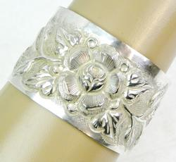 Very Wide Vintage Hand Chased Sterling Cuff Bracelet
