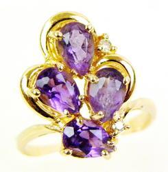 Vintage 14K Amethyst & Diamond Ring