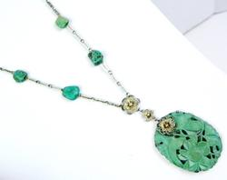 Early Sterling Filigree Turquoise Necklace