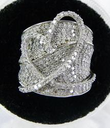Shimmering Wide Pave Diamond Encrusted Ring
