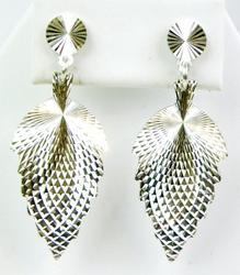 Vintage Sterling Diamond Cut Long Leaf Earrings