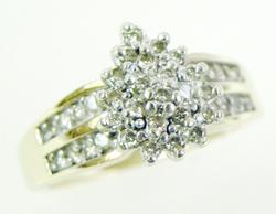 Vintage Diamond Cluster Gold Ring