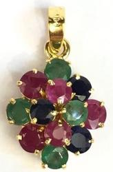 Ruby, Sapphire and Emerald 14kt Yellow Gold Pendant