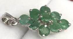 Natural Emerald Sterling Silver Pendant