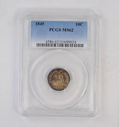 MS62 1845 Seated Liberty Dime - PCGS Graded