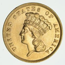 1859 $3.00 Indian Princess Head Gold Three Dollars - Rare
