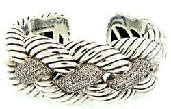 David Yurman Woven Cuff Bracelet w Diamonds in Sterling