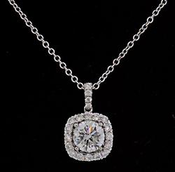 Diamond Halo Pendant Necklace in 18K at 1.28 CTW