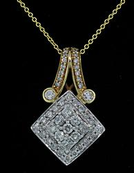 Charming 2 Tone Diamond Cluster Pendant Necklace