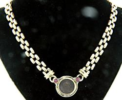 Relic Coin Necklace with Rubies & Diamonds