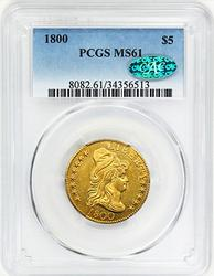 WOW 1800 $5 Gold Half Eagle MS61 PCGS/CAC
