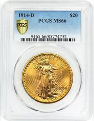 MS66 PCGS 1914-D Saint Gaudens $20 Double Eagle
