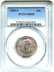 Great Date 1920-S SL Quarter MS65 PCGS