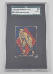 #35 Schapira Bros Candy 1921 Babe Ruth Waiting For A High One - SGC 3.5
