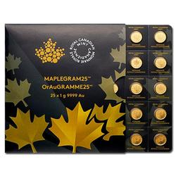 25 x 1 gram Gold Maple Leaf Maplegram25 In Assay Sleeve