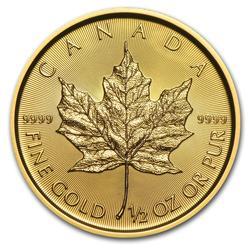 2018 1/2 oz Canadian Gold Maple Leaf Uncirculated