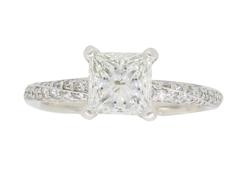 GIA Certified 1.28CTW Princess Cut Engagement Ring