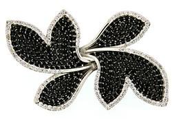 Very Unique & Large Leaf Design Sapphire & Diam Ring