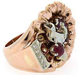Most Unique Vintage Cocktail Ring w/Rubies & Diamonds