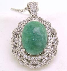 Green Beryl & White Sapphire Necklace