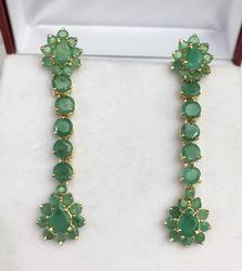 14kt Gold Emerald Earrings