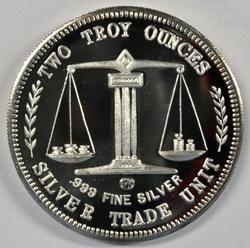 2 Troy Oz .999 fine silver Trade Unit. Crab Tree Mint