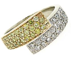 Gorgeous Yellow & White VS Diamond Bypass Ring
