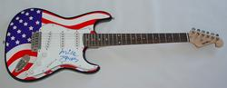 The Clash Mick Jones Autographed Signed USA Flag Guitar & Proof  AFTAL