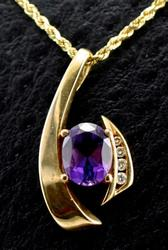 Modern 14K Amethyst Pendant and Chain